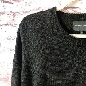 NWT Criminal Damage London Distressed mens sweater